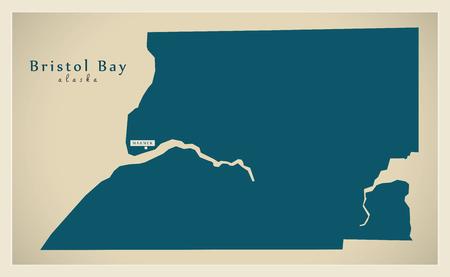 bristol: Modern Map - Bristol Bay Alaska county USA illustration Illustration