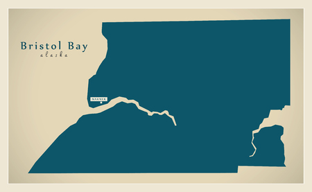 Modern Map - Bristol Bay Alaska county USA illustration Illustration