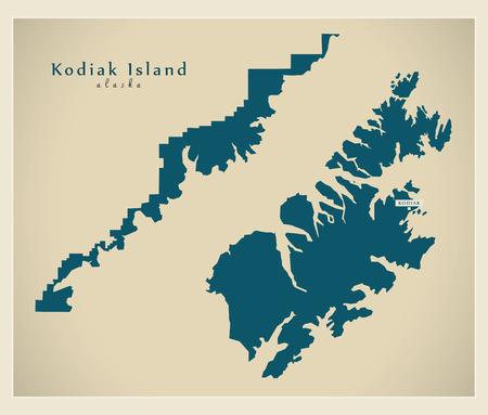 Modern Map - Kodiak Island Alaska county USA illustration