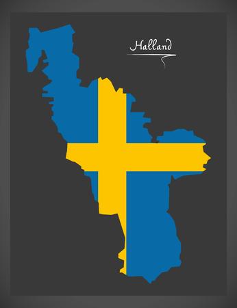 Halland map of Sweden with Swedish national flag illustration