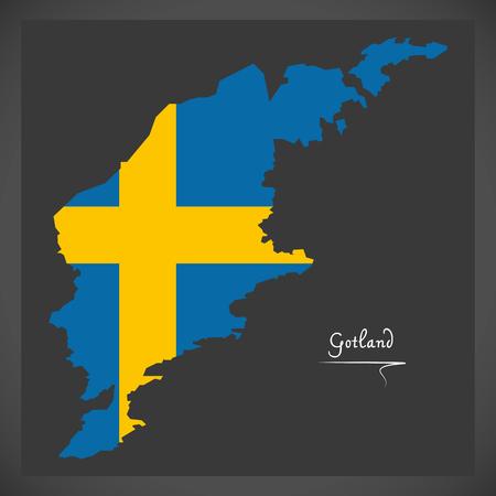 Gotland map of Sweden with Swedish national flag illustration Illustration