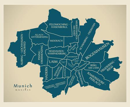 현대 도시지도 - 자치구와 제목 DE를 가진 독일의 뮌헨 도시