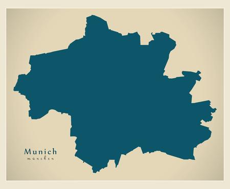Modern City Map - Munich city of Germany DE Çizim