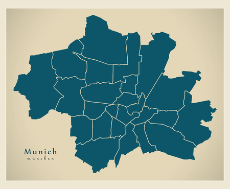 Modern City Map - Munich city of Germany with boroughs DE