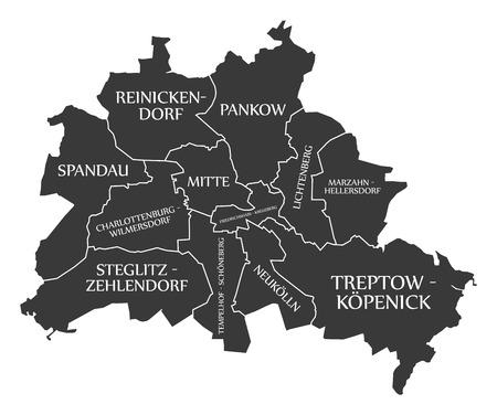 Berlin city map Germany DE labelled black illustration