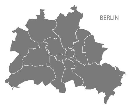자치구 회색 그림 실루엣 셰이프로 베를린 도시지도