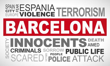 Barcelona terror attack - word cloud illustration english