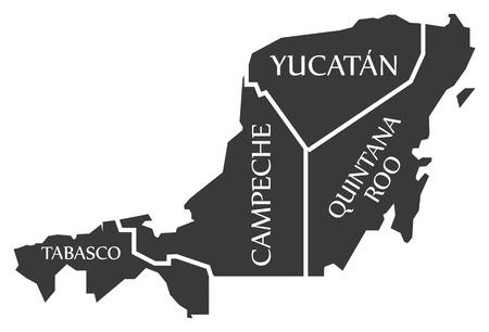 Tabasco - Campeche - Yucatan - Quntana Roo Map Mexico illustration Illustration
