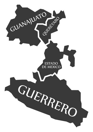 Guanajuato - Queretaro - Estado de Mexico - Guerrero Map Mexico illustration.