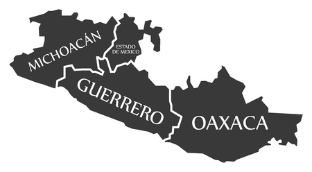 Michoacan - Estado de Mexico - Guerrero - Oaxaca Map Mexico illustration Illustration