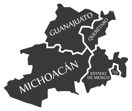 Guanajuato - Queretaro - Michoacan - Estado de Mexico - Distrito Federal Map Mexico illustration Illustration