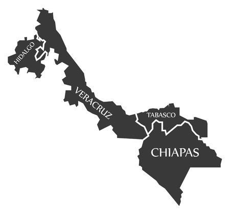 Hidalgo - Veracruz - Tabasco - Chiapas Map Mexico illustration