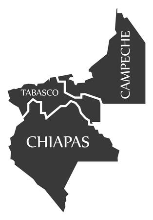 Tabasco - Chiapas - Campeche Map Mexico illustration