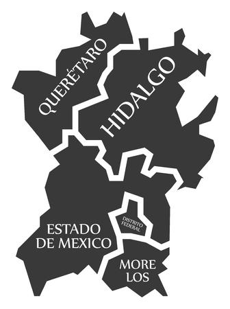 Queretaro - Hidalgo - Estado de Mexico - Distrito Federal - Morelos Map Mexico illustration