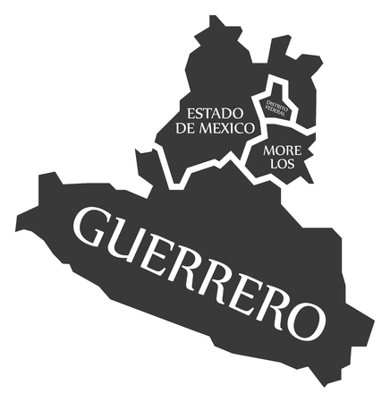 Estado de Mexico - Distrito Federal - Morelos - Guerrero Map Mexico illustration