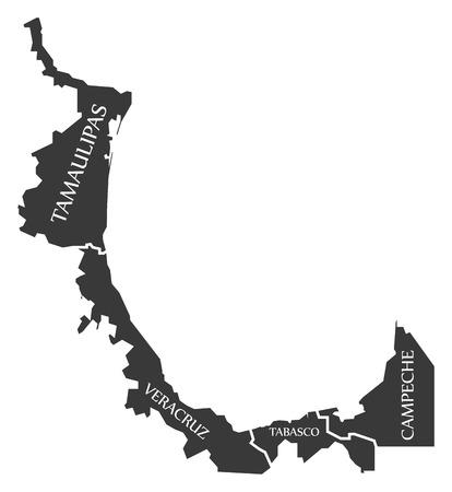Tamaulipas - Veracruz - Tabasco - Campeche Map Mexico illustration Illustration