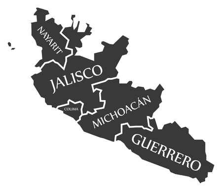 Nayarit - Jalisco - Colima - Michoacan - Guerrero Map Mexico illustration