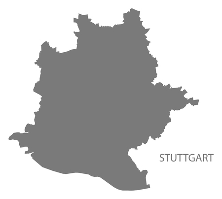 stuttgart: Stuttgart city map grey illustration silhouette shape
