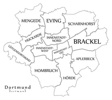近代都市図 - 自治区とタイトル略図とドイツのドルトムント市