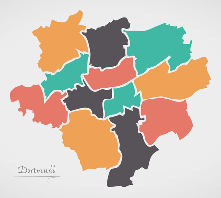 Dortmund Map with boroughs and modern round shapes Illustration