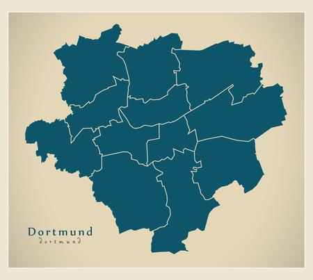 Modern City Map - Dortmund city of Germany with boroughs DE