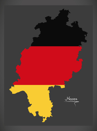 Hessen map of Germany with German national flag illustration