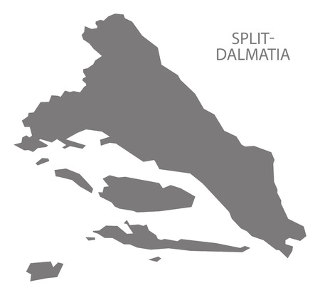 Split-Dalmatia Croatia county map grey illustration silhouette shape
