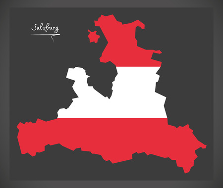 Salzburg map of Austria with Austrian national flag illustration