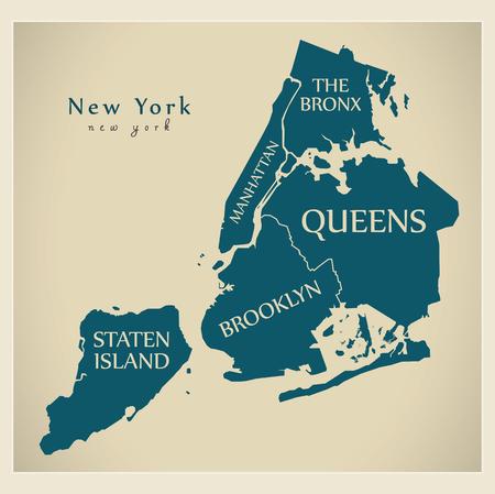 현대 도시지도 - 보로와 제목이있는 뉴욕의 뉴욕시