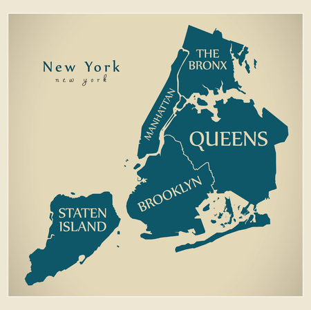 Modern City Map - New York city of the USA with boroughs and titles