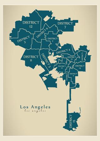 현대 도시지도 - 보로와 제목이있는 미국의 로스 앤젤레스시 스톡 콘텐츠 - 86220609