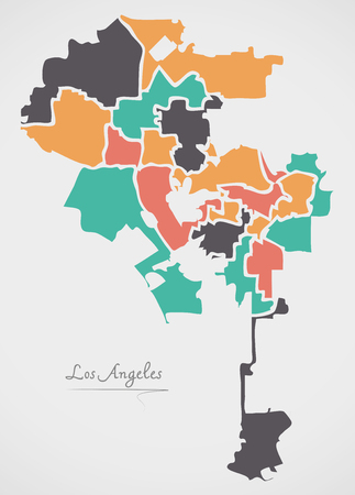 Los Angeles Map with boroughs and modern round shapes 向量圖像