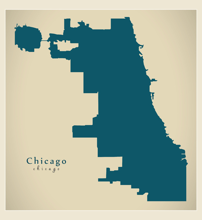 Modern Map of Chicago. Stock Vector - 86220616