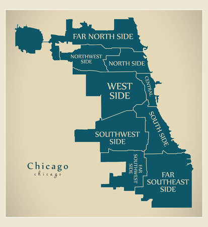Modern City Map Chicago with boroughs and titles