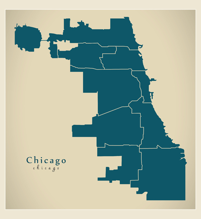 Modern City Map  Chicago with boroughs
