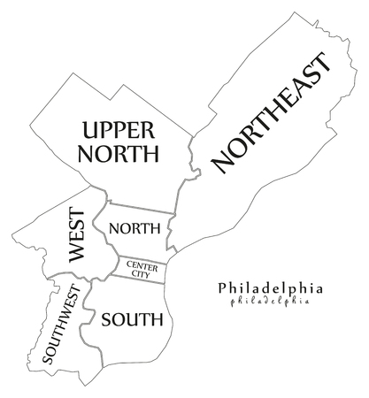 Modern City Map - Philadelphia city of the USA with boroughs and titles outline map