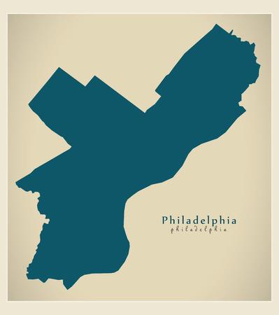 Modern Map - Philadelphia city of the USA