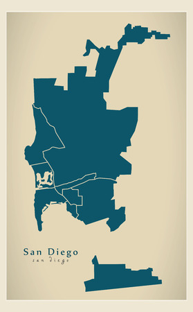 Modern City Map - San Diego city of the USA