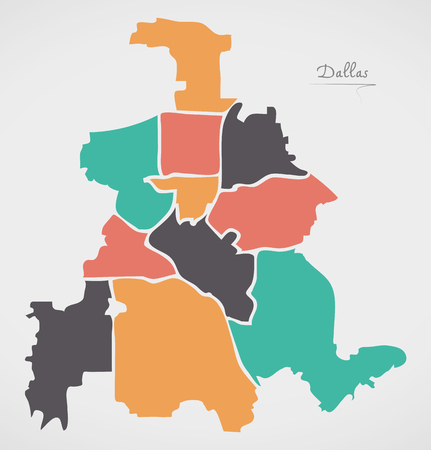Dallas Texas Map with boroughs and modern round shapes