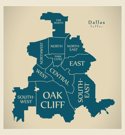 Dallas Texas City Map USA Labelled Black Illustration Royalty Free