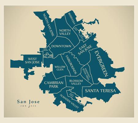 近代的な都市地図 - 地域とタイトルが付いている米国のサンノゼ市  イラスト・ベクター素材