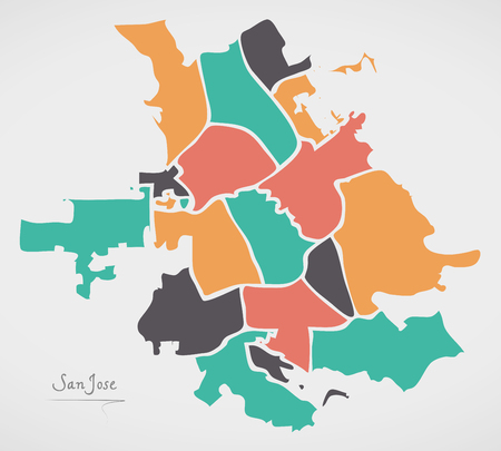 San Jose California Map with neighborhoods and modern round shapes Illustration