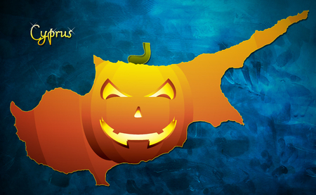 Cyprus halloween map illustration with pumpkin face