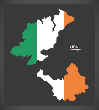 ulster: Ulster map of Ireland with Irish national flag illustration.