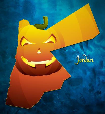 Jordan halloween map illustration with pumpkin face
