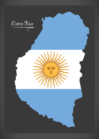 Entre Rios map of Argentina with Argentinian national flag illustration.