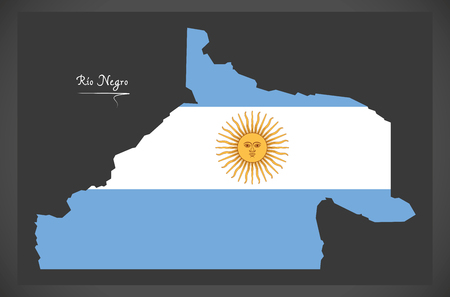 Rio Negro map of Argentina with Argentinian national flag illustration.
