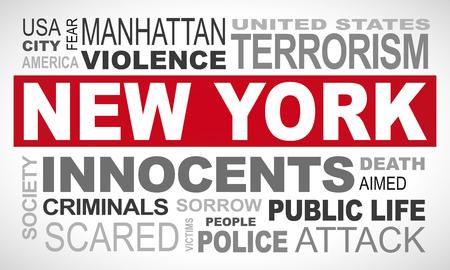 New York Manhattan terror attack - word cloud illustration english