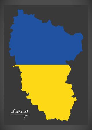 Luhansk map of Ukraine with Ukrainian national flag illustration