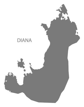 Diana region map of Madagascar grey illustration silhouette shape